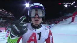 Henrik Kristoffersen 2nd run SL WC Schladming - flying snowballs